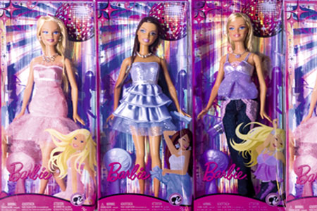 row of barbie dolls