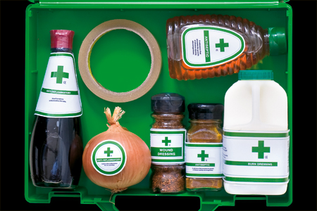 First Aid box with kitchen remedies
